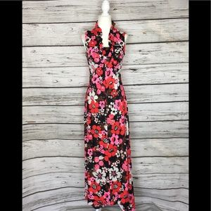 60s Vintage Mod Psychedelic Floral Maxi Dress